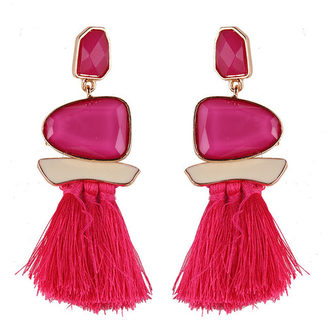 Statement Earrings Tassel Multicolored Drop Dangle - My Aashis