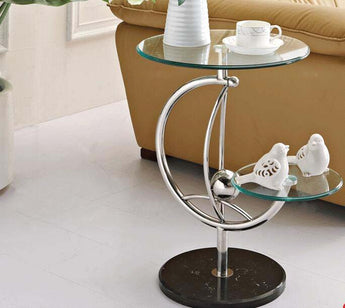 Modern Double Side Round Glass Table