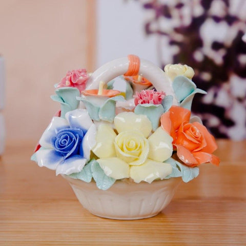 Ceramic Flower Basket Decoration