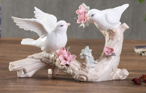 White Ceramic Flowers Birds Lovers Statue - My Aashis