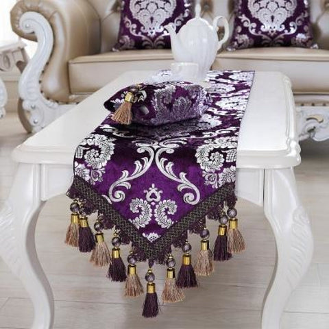 Luxury Europe Runner silver plating Bead tassels Beauty Table Bed Home Room Dec runner Mat mat - My Aashis