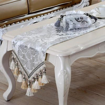 Luxury Europe Runner silver plating Bead tassels Beauty Table Bed Home Room Dec runner Mat mat