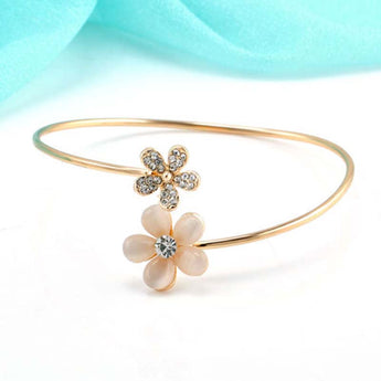 Crystal Golden Open Bracelet Small Daisy Fresh Charm Jewelry - My Aashis