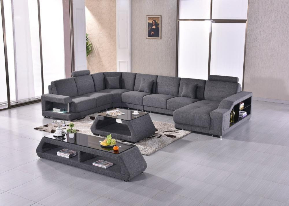 Fabric Modern Sofa Set Armchair Sectional Sofa U Shape Living room ...