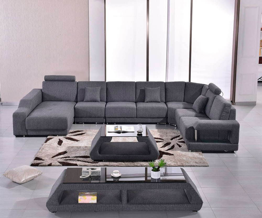 Fabric Modern Sofa Set Armchair Sectional Sofa U Shape Living room