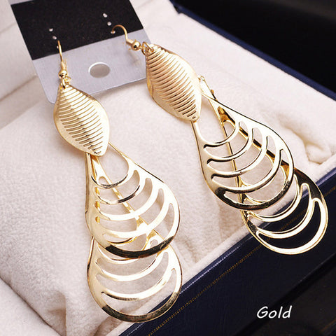 Trendy 1 Pair Punk Style Hollow-out Woman Earring Color Gold Silver color Charming Jewelry Accessories EAR-0420 - My Aashis