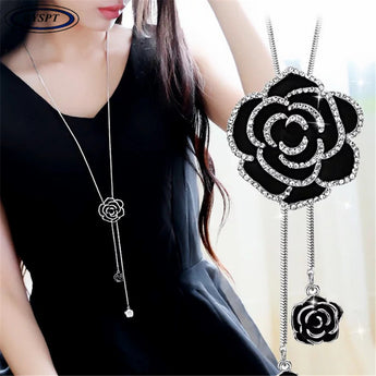 Zircon Black Rose Flower Long Necklace Sweater Chain Fashion Metal Chain Crystal Flower Pendant Necklaces Adjusted - My Aashis