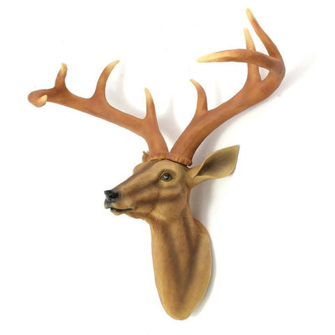 3D Deer Head Antlers Animal Sculpture Figurines Crafts Wall Hanging - My Aashis