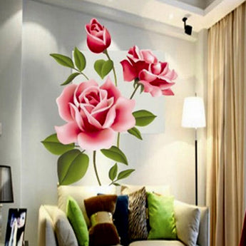 3D Removable Rose Flower Wall Sticker Decal Home Decor Living Room Bed Decals Creative Gifts PVC