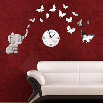 Removable Vinyl Wall stickers Mirror Petals Clock Art Decals