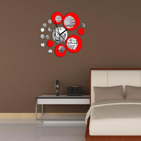 Removable Vinyl Wall stickers Art Decals Red Circle Around Sticker Home Decoration Clock - My Aashis