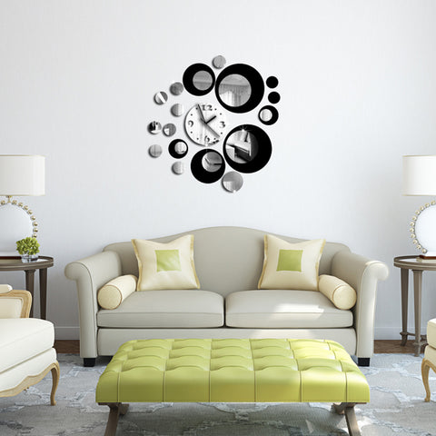 3D Wall Clock Black Sticker DIY Art Home Decor Living Room - My Aashis