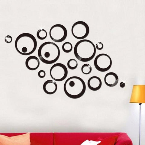 2 Colors 3D DIY Acrylic Mirror Wall Stickers  Decoration Large Decals