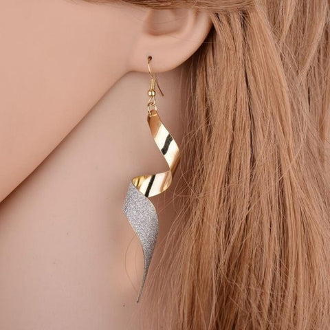 Gold Drop Earrings For Women Rotate Shape Earrings Fashion Jewelry Long Earrings