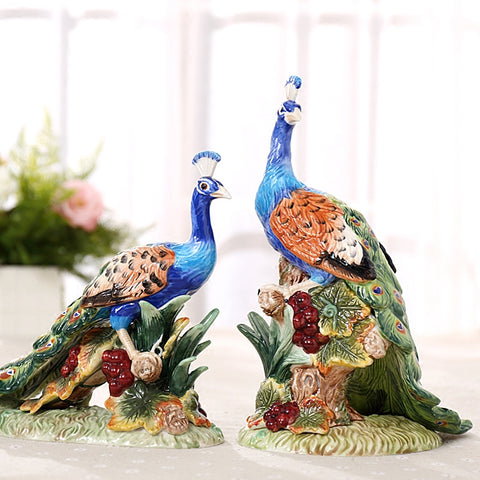 Set Of 2 Ceramic Peacock Lovers Statue Ornament Porcelain Animal - My Aashis