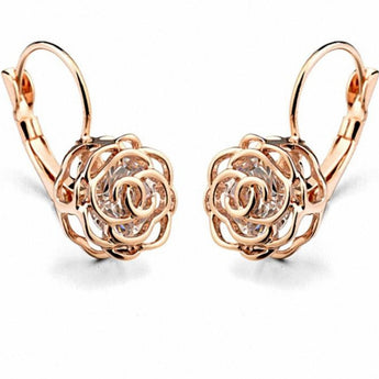 Sparkling Rose Gold Color Earrings For Valentine Gift -  My Aashis