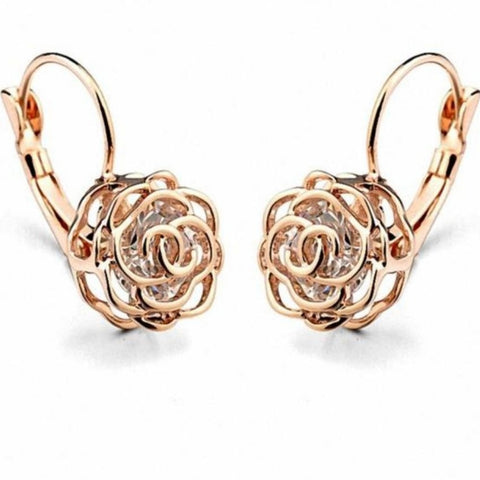 AAA Zirconia Rose Gold Color Flower Rose Earrings for Women Valentine Gift