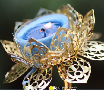 Exquisite  Golden hollow Lotus candle holders 25.5cm