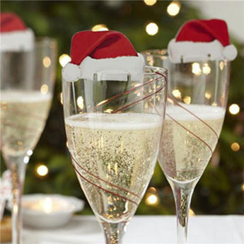 10 pcs Table Place Cards Christmas Santa Hat Wine Glass Decoration