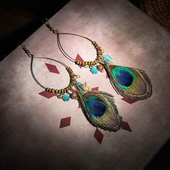 Ethnic Wear Natural Peacock Feather Earrings - My Aashis