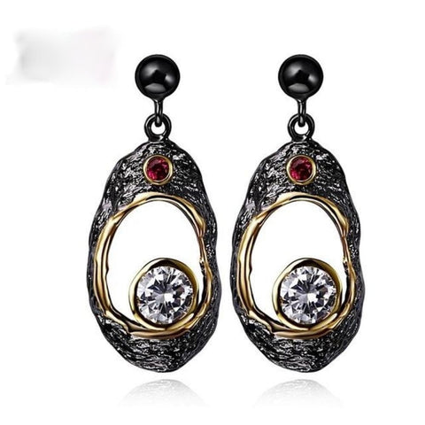 DreamCarnival 1989 Vintage CZ Earrings for Women Big Fruit Shape Hollow Pendientes brinco feminino zirconia luxo oorringen Moda - My Aashis