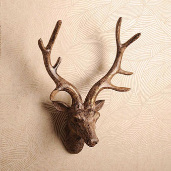 3D  Deer Head Elk Wooden Wall Hanging Animal Wildlife Sculpture Figurines