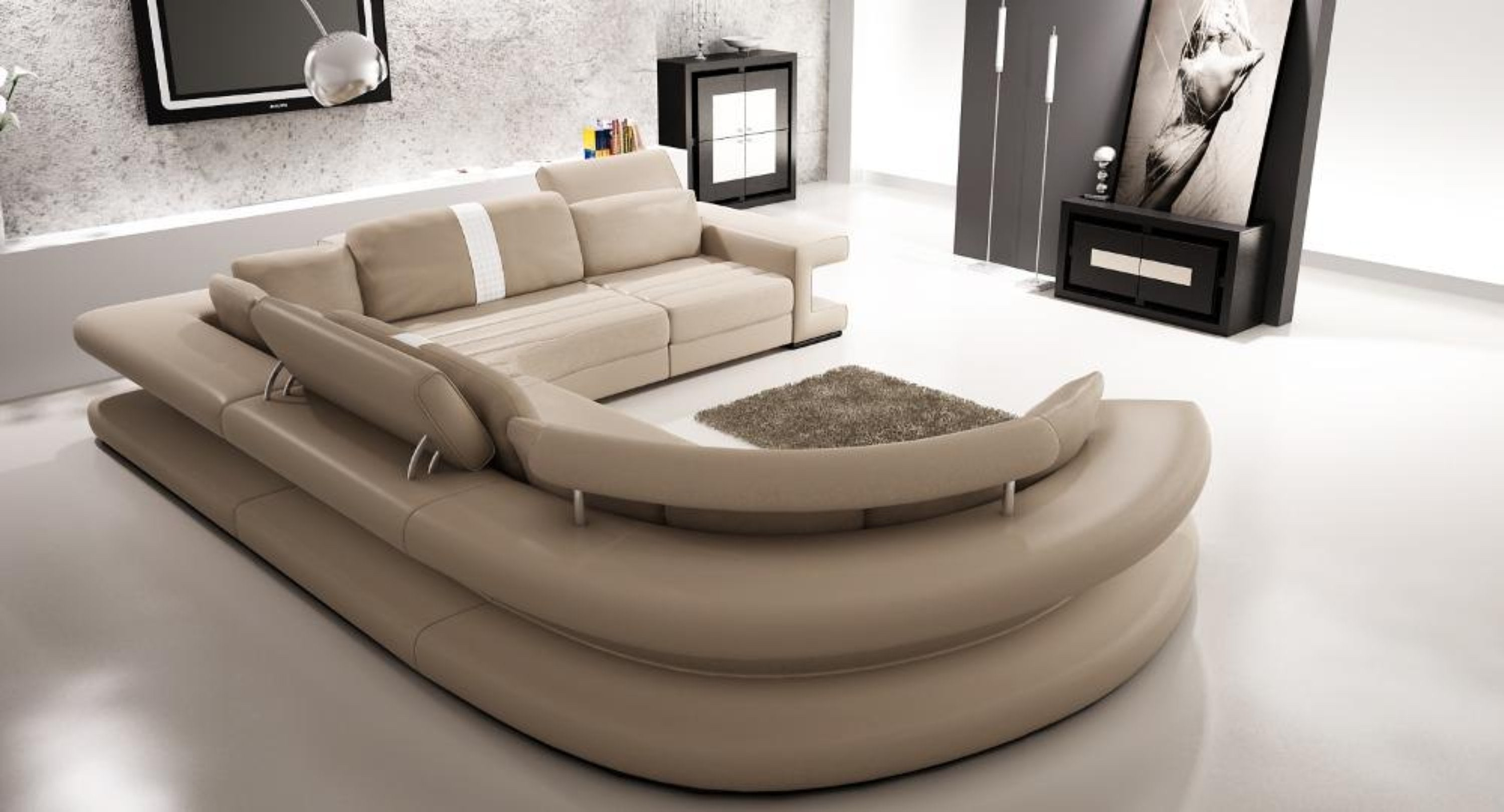 Genuine leather living room sofa furniture with modern corner ...