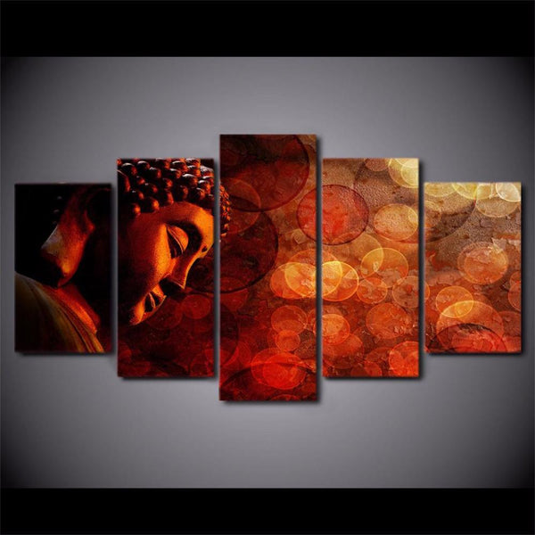5 Piece Buddha Canvas  Living Room Home Decor