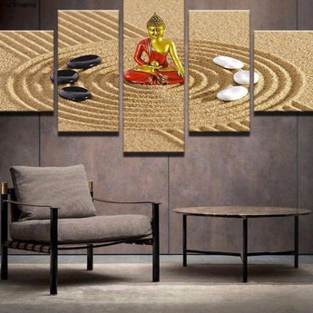 Modern Home Decoration  Canvas 5 Pieces Buddha