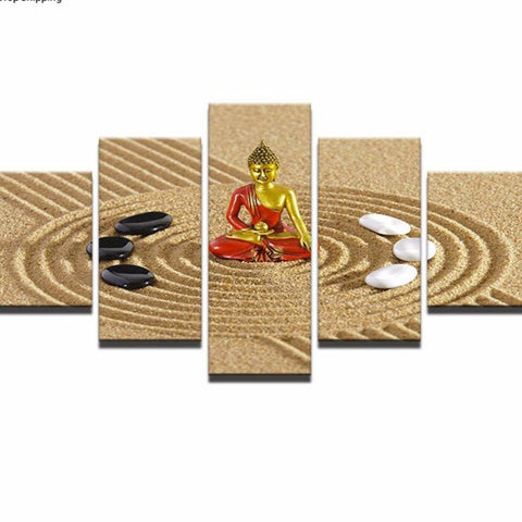 Modern Home Decoration Canvas 5 Pieces Buddha - My Aashis