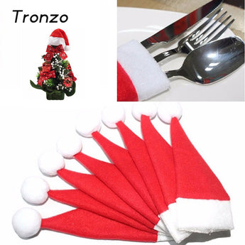 Tronzo 10pcs/lot Christmas Silverware Holder Mini Xmas Tree Santa Claus Hat Christmas Decoration For Home Navidad Natal 6*12CM