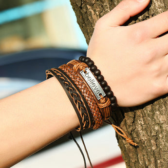 Women Men Multilayer Braid Rope Beads Leather Bracelet Charm
