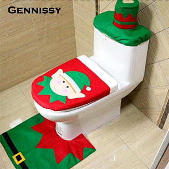 GENNISSY 4 Styles 1 Set/3pcs Fancy Happy Santa Toilet Seat Cover Rug Bathroom Set Decoration Rug Christmas Decoration