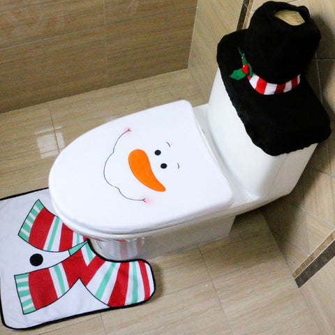 GENNISSY 4 Styles 1 Set/3pcs Fancy Happy Santa Toilet Seat Cover Rug Bathroom Set Decoration Rug Christmas Decoration - My Aashis