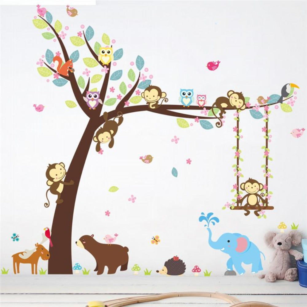 Animal wall stickers for kids room children wall decal nursery bedroom decor mural