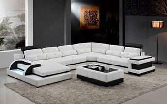 Modern U Shaped Corner Leather Sofa - My Aashis