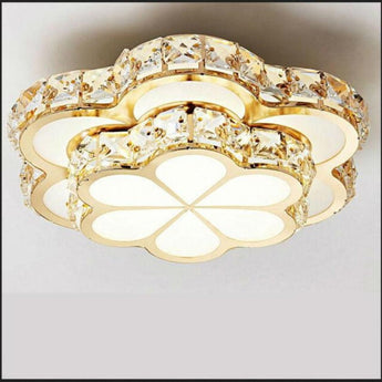 Contemporary Led Ceiling Light Golden Crystal Flower
