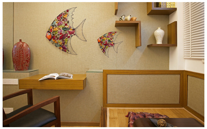 European Style Living Room Hanging Wall Decoration Color Fish Iron ...