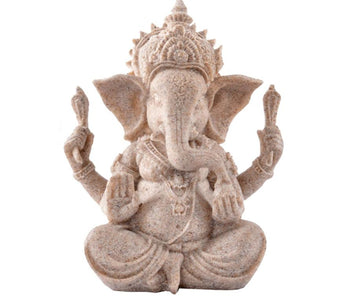 "13cm(3.5"")Tall Indian Ganesha Statue Fengshui Sculpture Natural Sandstone Craft Figurine"