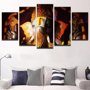 5 Pieces Canvas Ganesha Wall Art Living Room Home Decor - My Aashis