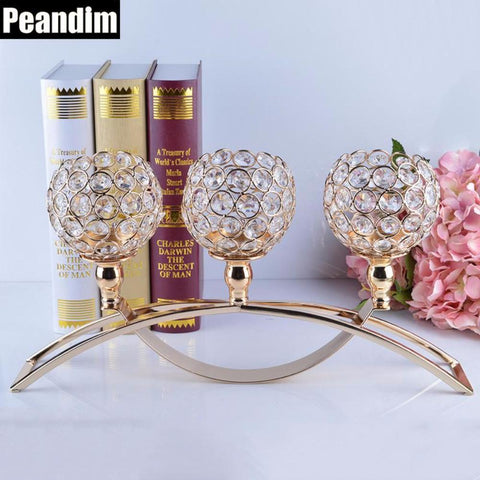 PEANDIM Gold Votive Crystal Candle Holder Arch Bridge Shape 3 Arms Candelabra for Wedding Decoration Dining Table Centerpieces - My Aashis