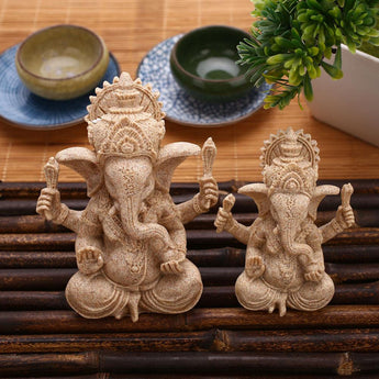 Indian Ganesha Buddha Statue Sculpture Sandstone Figurine Crafts Handmade