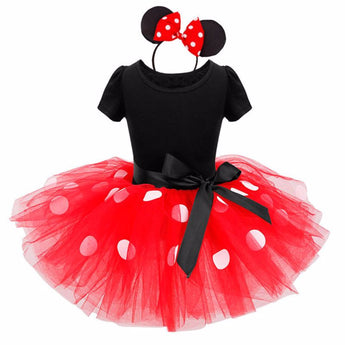 Minnie Mouse kids dress princess costume party children clothing Cosplay Girls Minnie Dress+Headband Baby - My Aashis