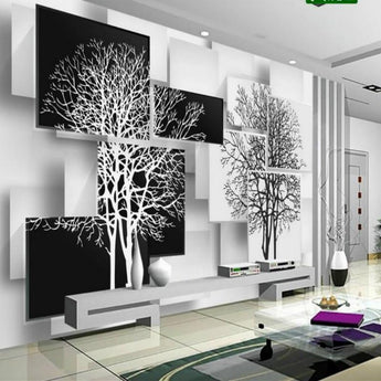 3D Mural Black and White Tree Non Woven Silk Wallpaper - My Aashis