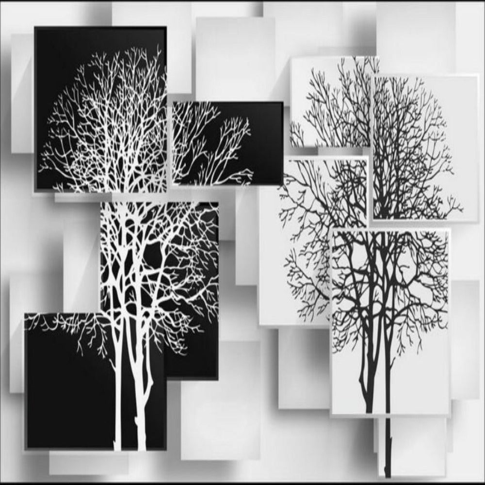 3d Mural Black And White Tree Non Woven Silk Wallpaper My Aashis