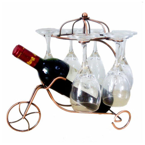 Freestanding Scrollwork Bronze Metal 1 Wine Bottles / 6 Wine Glass Stemware Storage Display Rack Stand - My Aashis