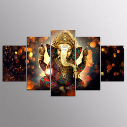 5 Pieces Canvas Trunk God Wall Art Poster Ganesha Pictures - My Aashis
