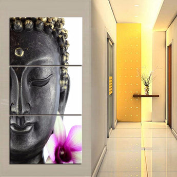 3 Panel Modern Buddha Painting Wall Art  Frames Set Vertical Canvas