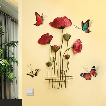 3D Sticker Hanging Wall Mural Solid Iron Flower Pendant - My Aashis