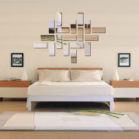3D Rectangle Mirror Effect Mural Wall Sticker - My Aashis